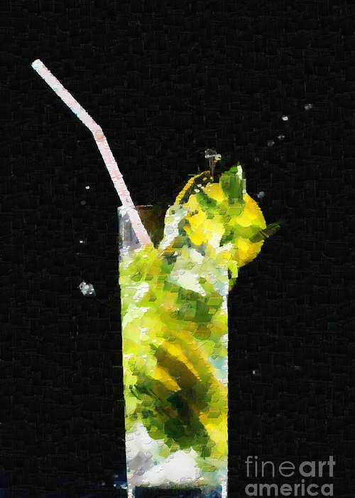 mojito cocktail splash painting greeting card for sale by magomed