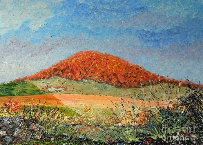 Blue Greeting Card featuring the painting Mole Hill Flaunting Autumn- SOLD by Judith Espinoza