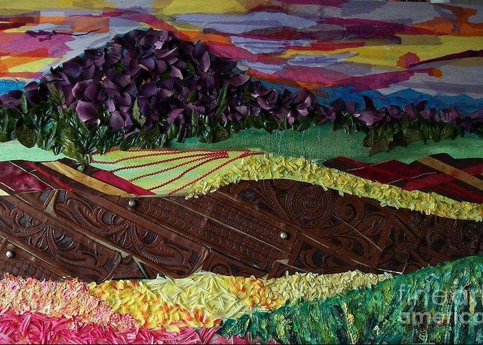 Landscape Greeting Card featuring the mixed media Mole Hill Renaissance by Judith Espinoza