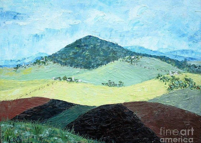 Centered Mole Hill With Dark Foreground; Plowed Fields Greeting Card featuring the painting Mole Hill - Sold by Judith Espinoza