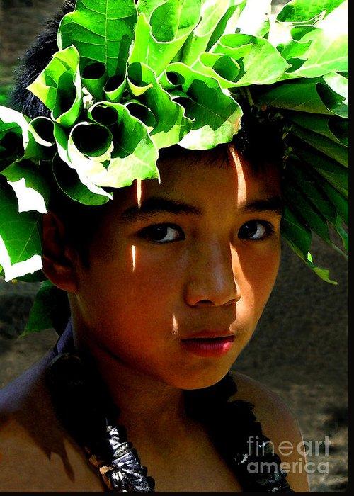 Hawaii Greeting Card featuring the photograph Molokai Keiki Kane by James Temple