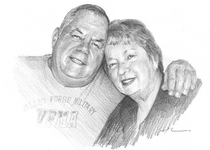 <a Href=http://miketheuer.com Target =_blank>www.miketheuer.com</a> Mom And Dad Pencil Portrait Greeting Card featuring the drawing Mom And Dad Pencil Portrait by Mike Theuer