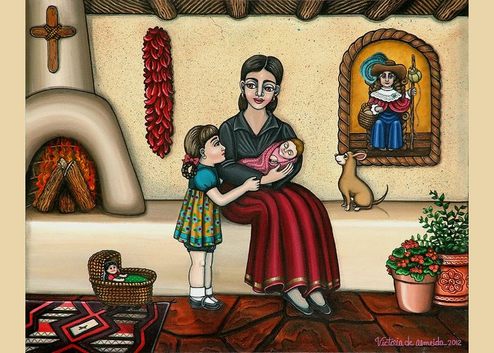 Moms Greeting Card featuring the painting Momma Do You Love Me? by Victoria De Almeida