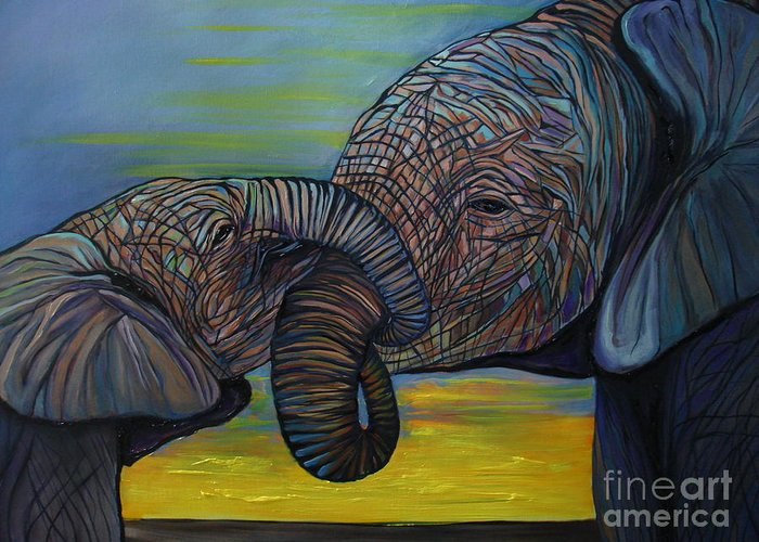 Elephant Greeting Card featuring the painting Mommy And Baby by Aimee Vance