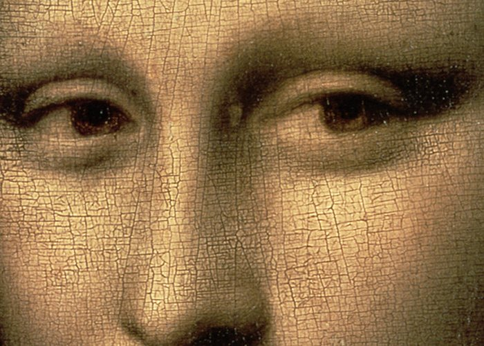 Leonardo Greeting Card featuring the painting Mona Lisa  Detail by Leonardo Da Vinci