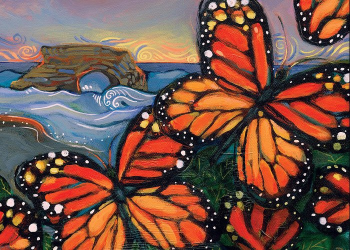 Jen Norton Greeting Card featuring the painting Monarch Butterflies At Natural Bridges by Jen Norton
