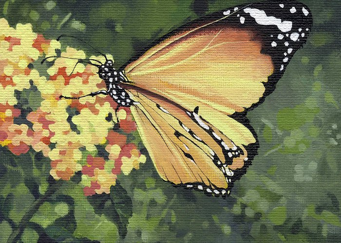 Monarch Greeting Card featuring the painting Monarch Butterfly by Natasha Denger