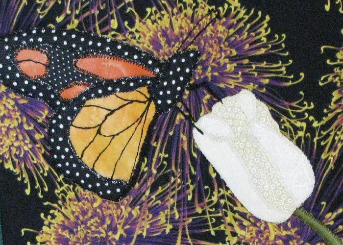 Art Quilts Tapestries - Textiles Greeting Card featuring the tapestry - textile Monarch Butterfly On White Tulip by Lynda K Boardman
