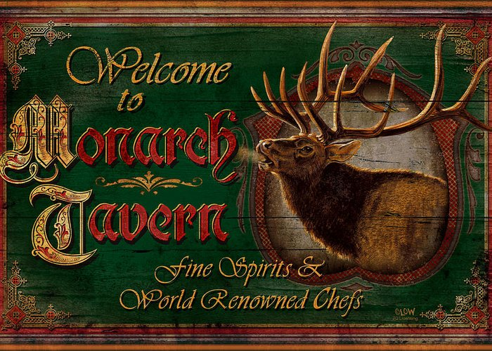 Joe Low Greeting Card featuring the painting Monarch Tavern by JQ Licensing