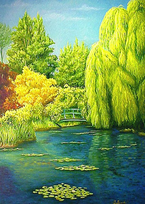Monets Lily Pond Greeting Card featuring the painting Monets Lily Pond In Green by Gary Hernandez