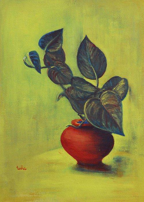 Money Plant Greeting Card featuring the painting Money Plant - Still Life by Usha Shantharam