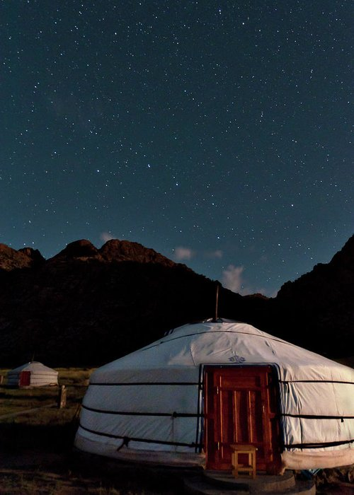 The Big Dipper Shines Over Our Yurt At The Khankhar-uul Camp In Greeting Card featuring the photograph Mongolia By Starlight by Alan Toepfer