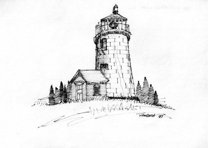 Monhegan Island Greeting Card featuring the drawing Monhegan Lighthouse 1987 by Richard Wambach
