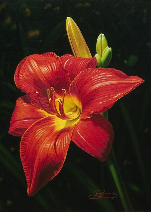 Lily Greeting Card featuring the painting Monikas Red Lily by Gary Hernandez