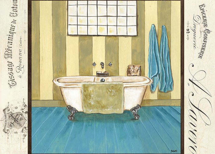 Bath Greeting Card featuring the painting Monique Bath 2 by Debbie DeWitt