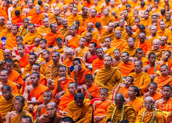 Monk Greeting Card featuring the photograph Monk Mass Alms Giving by Fototrav Print