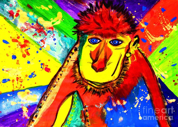 Pop Art Greeting Card featuring the painting Monkey Pop Art by Julia Fine Art And Photography