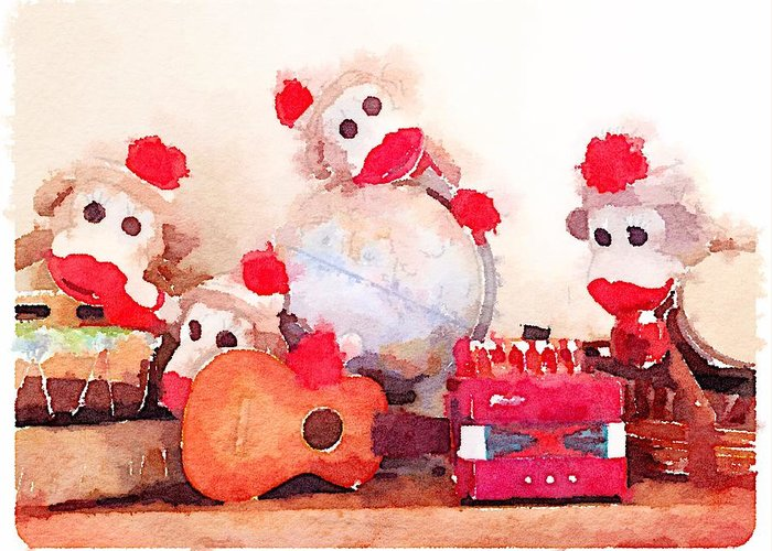 Waterlogue Greeting Card featuring the digital art Monkeys and Music by Shannon Grissom