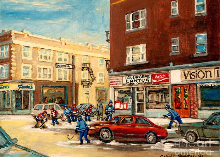 Montreal Greeting Card featuring the painting Monkland Street Hockey Game Montreal Urban Scene by Carole Spandau