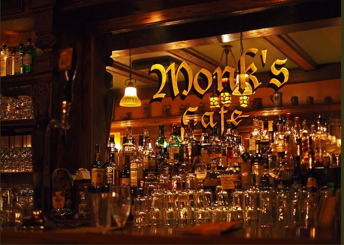 Monk's Cafe Greeting Card featuring the photograph Monks Cafe by Rona Black
