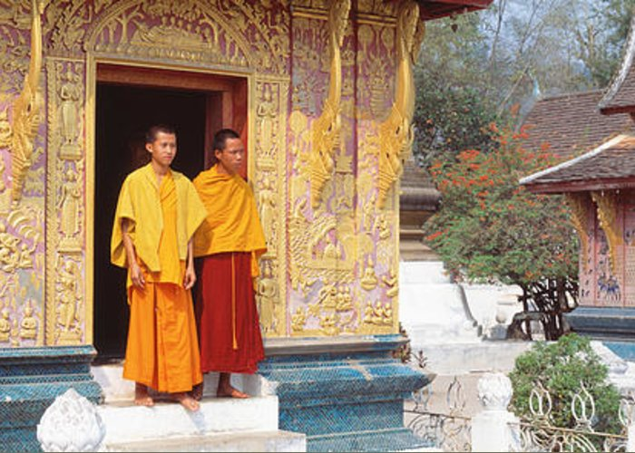 Photography Greeting Card featuring the photograph Monks Wat Xien Thong Luang Prabang Laos by Panoramic Images