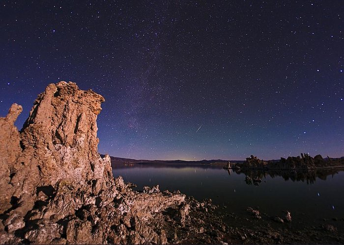 Astronomical Greeting Card featuring the photograph Mono Lake, Usa, At Night by Babak Tafreshi