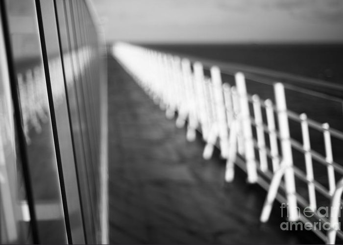 Abstract Greeting Card featuring the photograph Monochrome Sun Deck by Anne Gilbert