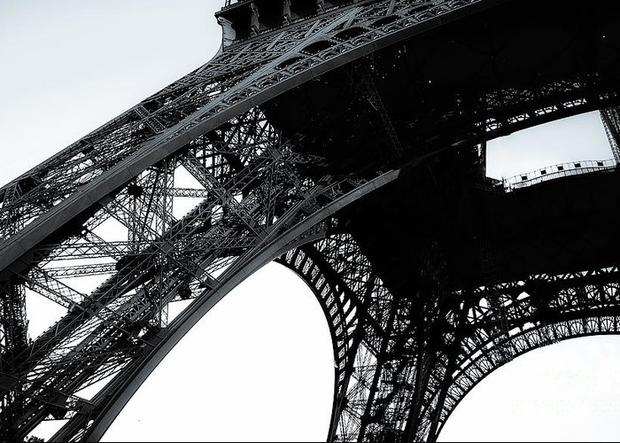 Paris Greeting Card featuring the photograph monocrome leg of Eiffel tower by Remi D Photography
