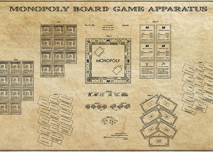 Monopoly Greeting Card featuring the digital art Monopoly Board Game Aged Patent Art 1935 by Daniel Hagerman