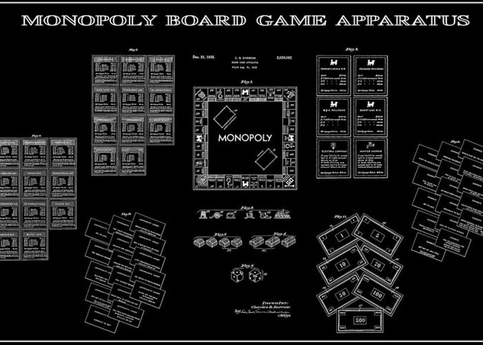 Monopoly Greeting Card featuring the digital art Monopoly Board Game Black Patent Art 1935 by Daniel Hagerman