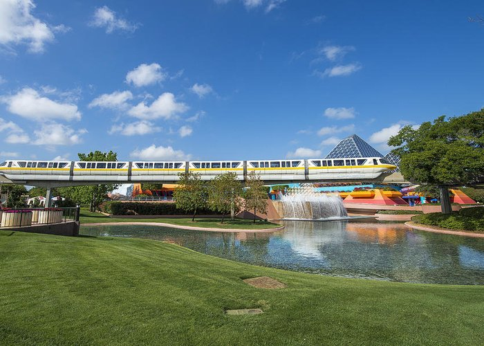 Disney Greeting Card featuring the photograph Monorail by Carl Ruegg