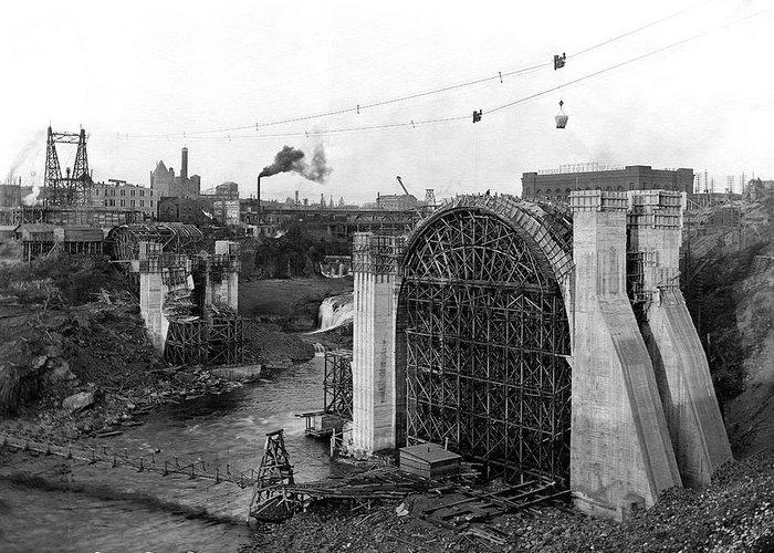 Spokane Greeting Card featuring the photograph Monroe St Bridge Construction 1910 by Daniel Hagerman