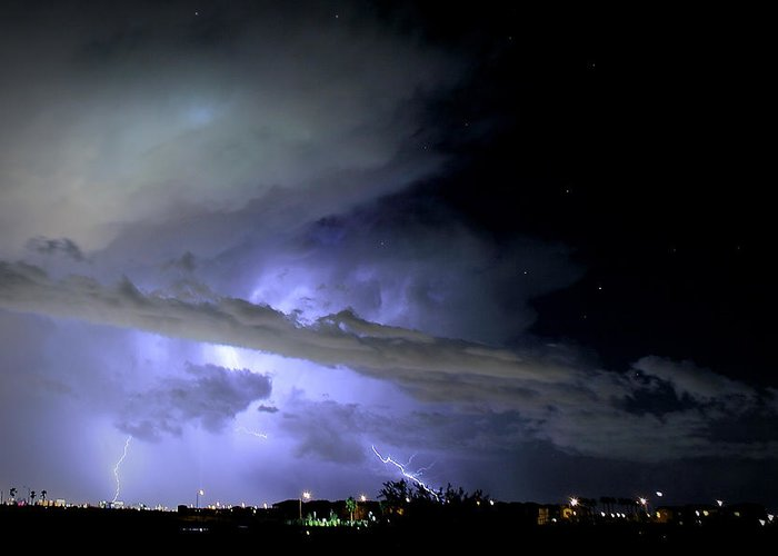 Landscape Greeting Card featuring the photograph Monsoon Lightning by Robert Melvin