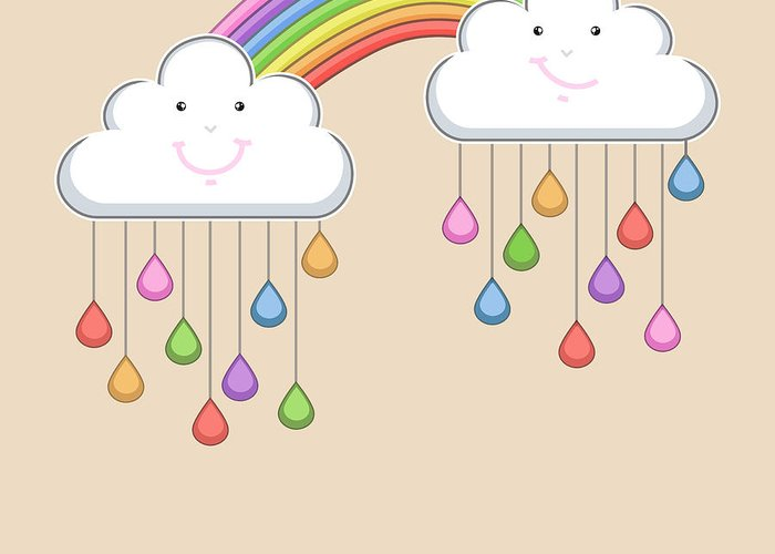 Drop Greeting Card featuring the digital art Monsoon Season Background With Happy by Allies Interactive
