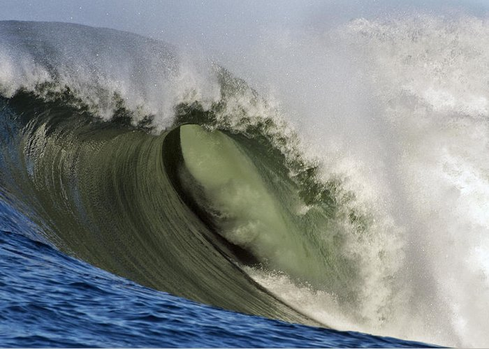 Wave Greeting Card featuring the photograph Monster Surf At Mavericks Point In Half Moon Bay California by Scott Lenhart