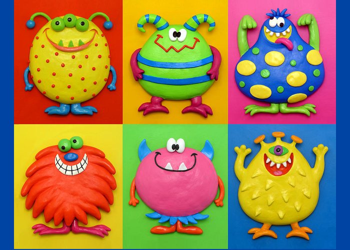 Monsters Greeting Card featuring the painting Monsters by Amy Vangsgard