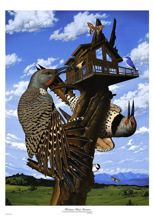 Surrealism Greeting Card featuring the painting Montana Home Invasion by Philip Slagter