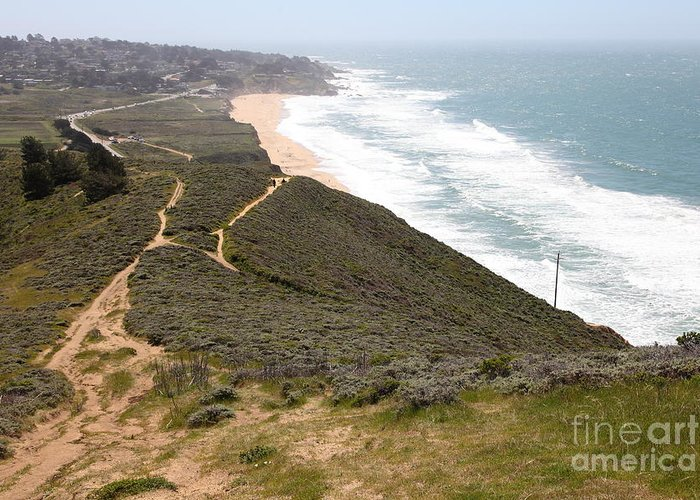 Bayarea Greeting Card featuring the photograph Montara State Beach Pacific Coast Highway California 5d22632 by Wingsdomain Art and Photography