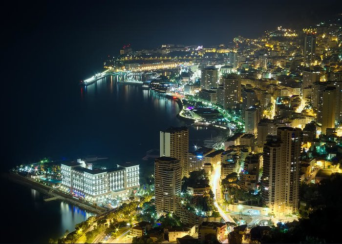 Architecture Greeting Card featuring the photograph Monte Carlo By Night by Ioan Panaite