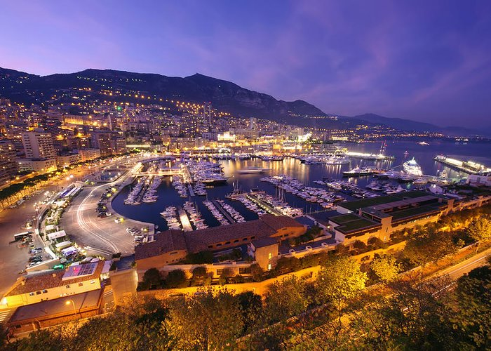 Dawn Greeting Card featuring the photograph Monte Carlo Harbor by Ioan Panaite