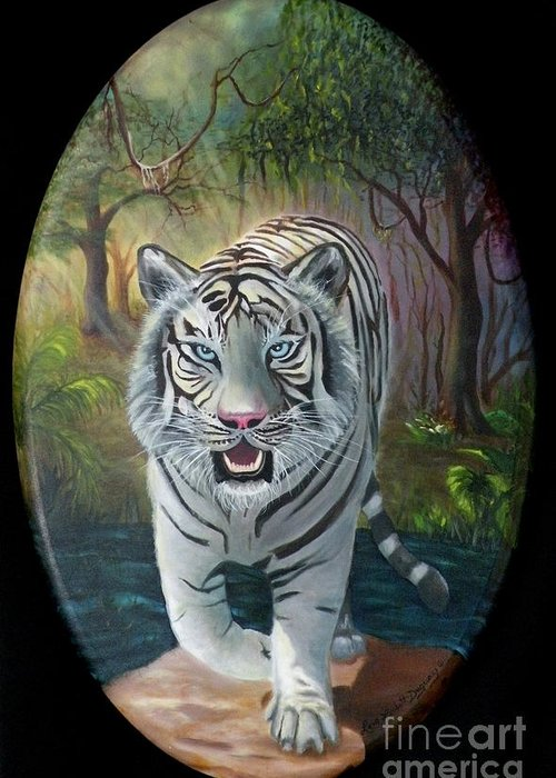 White Tiger Greeting Card featuring the painting Montecore The Enchanter by Lora Duguay
