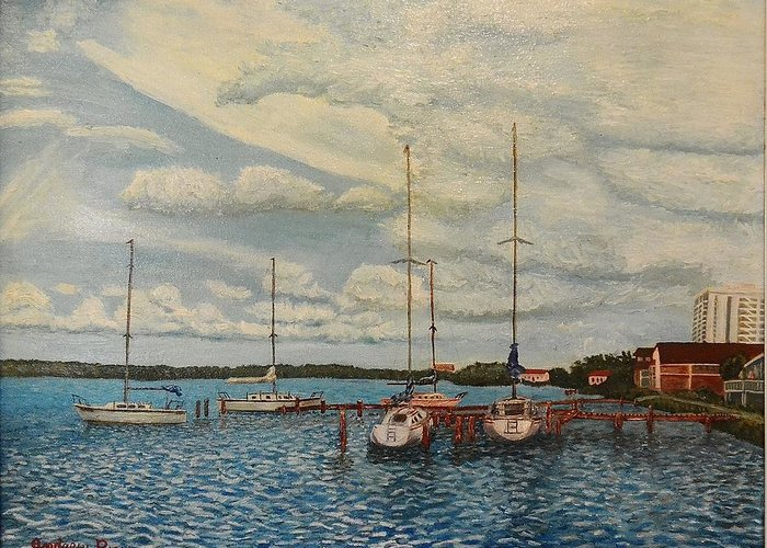 Sail Boats Sailboats Andrew Pierce Paintings Blue Water Seascape Clouds Bay Docks Original Greeting Card featuring the painting Monteray Bay by Andrew Pierce