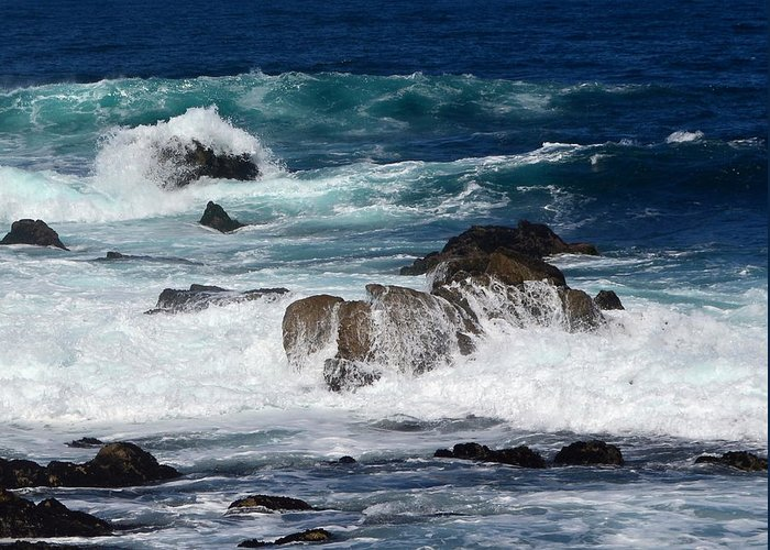 Waves Greeting Card featuring the photograph Monterey-6 by Dean Ferreira