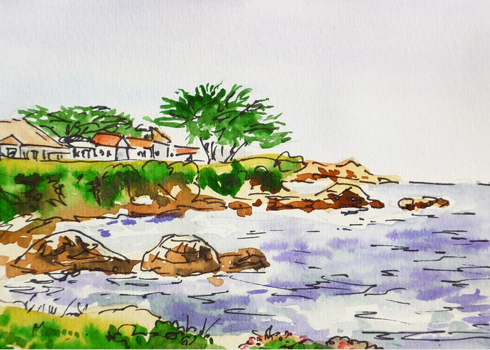 Monterey Greeting Card featuring the painting Monterey- California Sketchbook Project by Irina Sztukowski