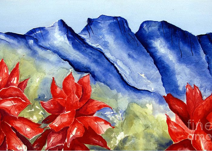 Mountains Greeting Card featuring the painting Monterrey Mountains with Red Floral by Kandyce Waltensperger