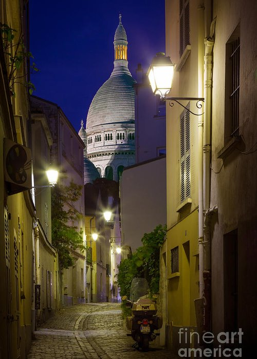 Christianity Greeting Card featuring the photograph Montmartre Street And Sacre Coeur by Inge Johnsson