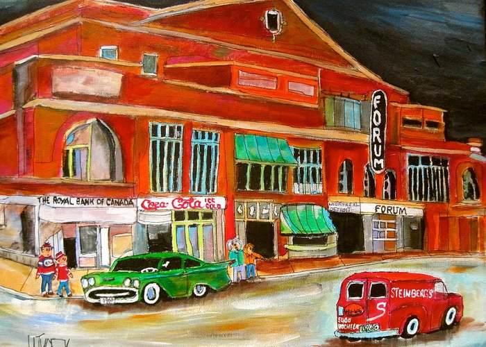 Montreal Forum Greeting Card featuring the painting Montreal Forum 1960 by Michael Litvack