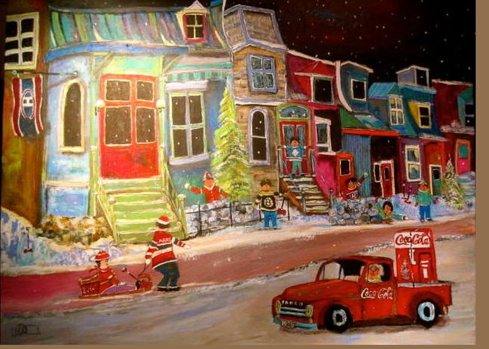 1951 Fargo Truck Greeting Card featuring the painting Montreal Memories Of Street Of Icons by Michael Litvack