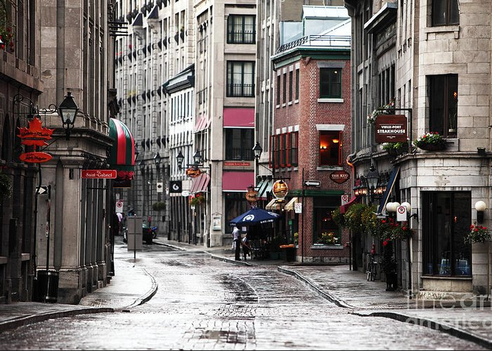 Montreal Street Scene Greeting Card featuring the photograph Montreal Street Scene by John Rizzuto