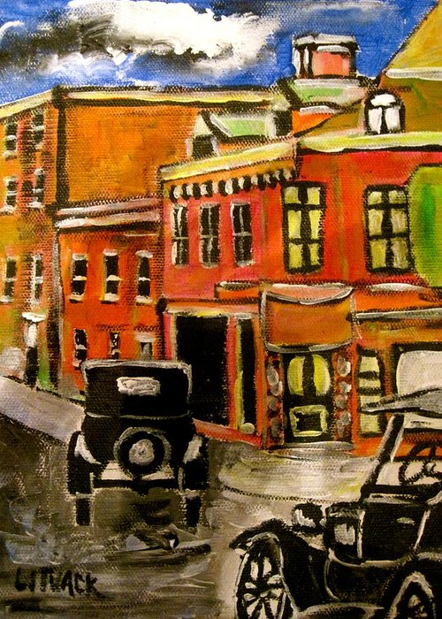 Montreal Greeting Card featuring the painting Montreal Then by Michael Litvack